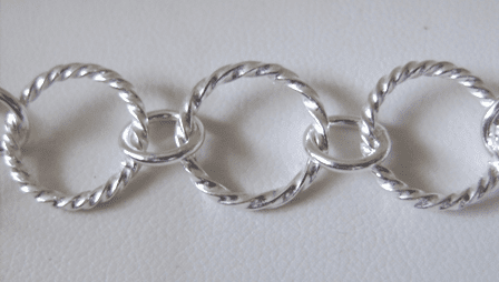 Chain by the Foot - 14mm Twisted Links - .999 Silver Over Copper<br>SCBKCH-034