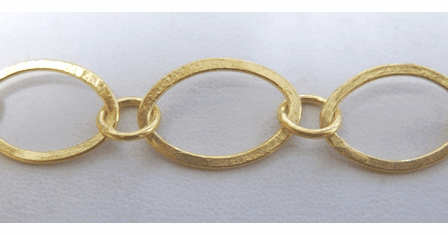 Chain by the Foot - 14x20mm Flat Ovals w/ 8mm Links - 24KT Gold Over Copper<br>GCBKCH-033