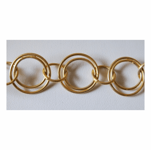 Chain by the Foot - 15mm Dbl Rings w/ 10mm Links - 24KT Gold Over Copper<br>GCBKCH-031