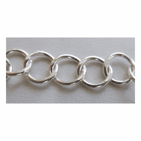 Chain by the Foot - 9mm Hammered Links - .999 Silver Over Copper<br>SCBKCH-010