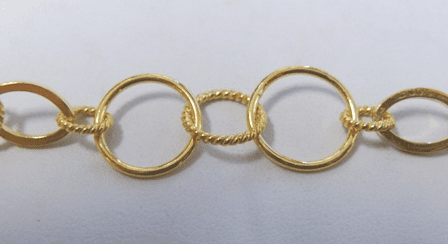 Chain by the Foot - 9x14mm Ovals w/ 8 and 12mm Twisted Rings and 15mm Smooth Round Links - 24Kt. Gold Over Copper<br>GCBKCH-038