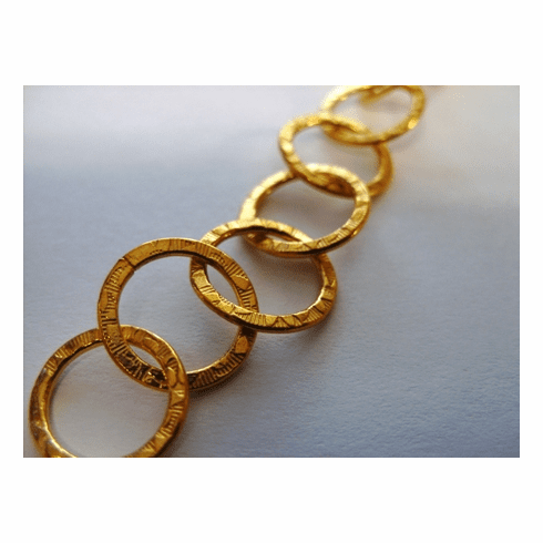 Chain by the Foot - Textured - 15mm Round Links - 24kt Gold Over Copper<br>GCBKCH-T1C