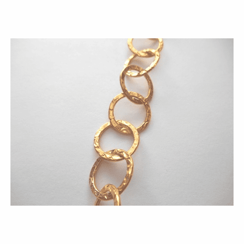 Chain by the Foot - Textured - 15mm Round Links - 24kt Gold Over Copper<br>GCBKCH-T2C