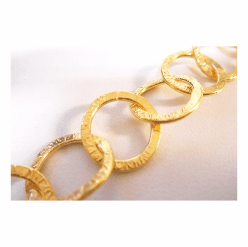 Chain by the Foot - Textured - 15mm Round Links - 24KT Gold Over Copper<br>GCBKCH-T3C