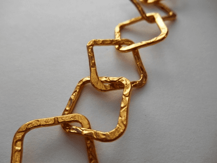 Chain by the Foot - Textured - 15x15mm Square Links - 24kt Gold Over Copper<br>GCBKCH-T1A