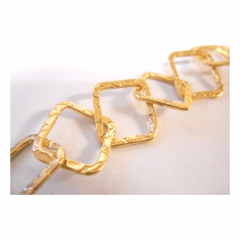 Chain by the Foot - Textured - 15x15mm Square Links - 24KT Gold Over Copper<br>GCBKCH-T2A