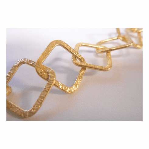 Chain by the Foot - Textured - 15x15mm Square Links - 24KT Gold Over Copper<br>GCBKCH-T3A