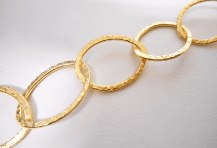 Chain by the Foot - Textured - 15x18mm Oval Link - 24KT Gold Over Copper<br>GCBKCH-T1F
