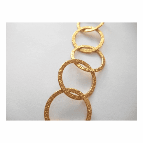 Chain by the Foot - Textured - 20mm Round Links - 24kt Gold Over Copper<br>GCBKCH-T3D