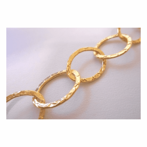 Chain by the Foot - Textured - 20x15mm Oval Links - 24KT Gold Over Copper<br>GCBKCH-T2F