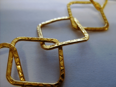 Chain by the Foot - Textured - 20x20mm Square Links - 24kt Gold Over Copper<br>GCBKCH-T1B