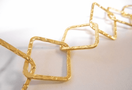 Chain by the Foot - Textured - 20x20mm Square Links - 24KT Gold Over Copper<br>GCBKCH-T2B