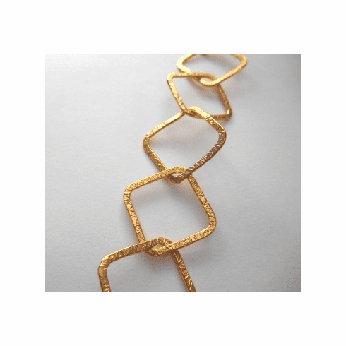 Chain by the Foot - Textured - 20x20mm Square Links - 24kt Gold Over Copper<br>GCBKCH-T3B