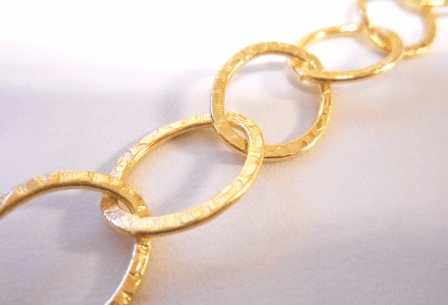 Chain by the Foot - Textured - 25x18mm Oval Links - 24KT Gold Over Copper<br>GCBKCH-T1E