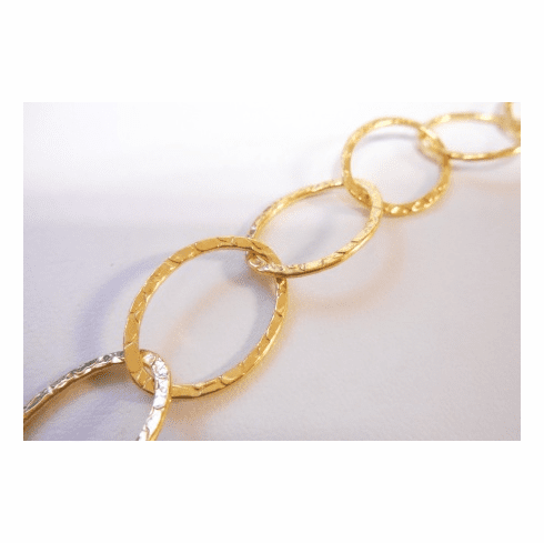 Chain by the Foot - Textured - 25x18mm Oval Links - 24KT Gold Over Copper<br>GCBKCH-T2E