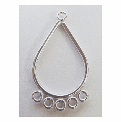 Chandelier 5-Ring Finding - Hangs 1.25 Inches w/ 4mm Loops - 10 Pieces - .999 Silver Over Copper<br>SCBK320
