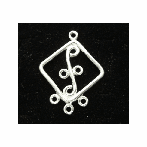Chandelier Earring Finding - Hangs 1 Inch - 6 Pieces - .999 Silver Over Copper<br>SCBK126