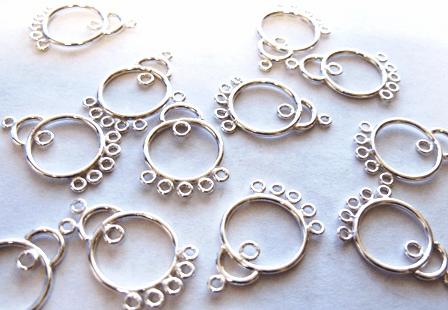 Chandelier Finding - Hangs 1 Inch - 12 Pieces - .999 Silver Over Copper<br>SCBK321