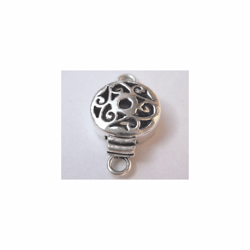 Circlular Box Clasp - 15mm - 2 Clasps - .999 Silver Over Copper