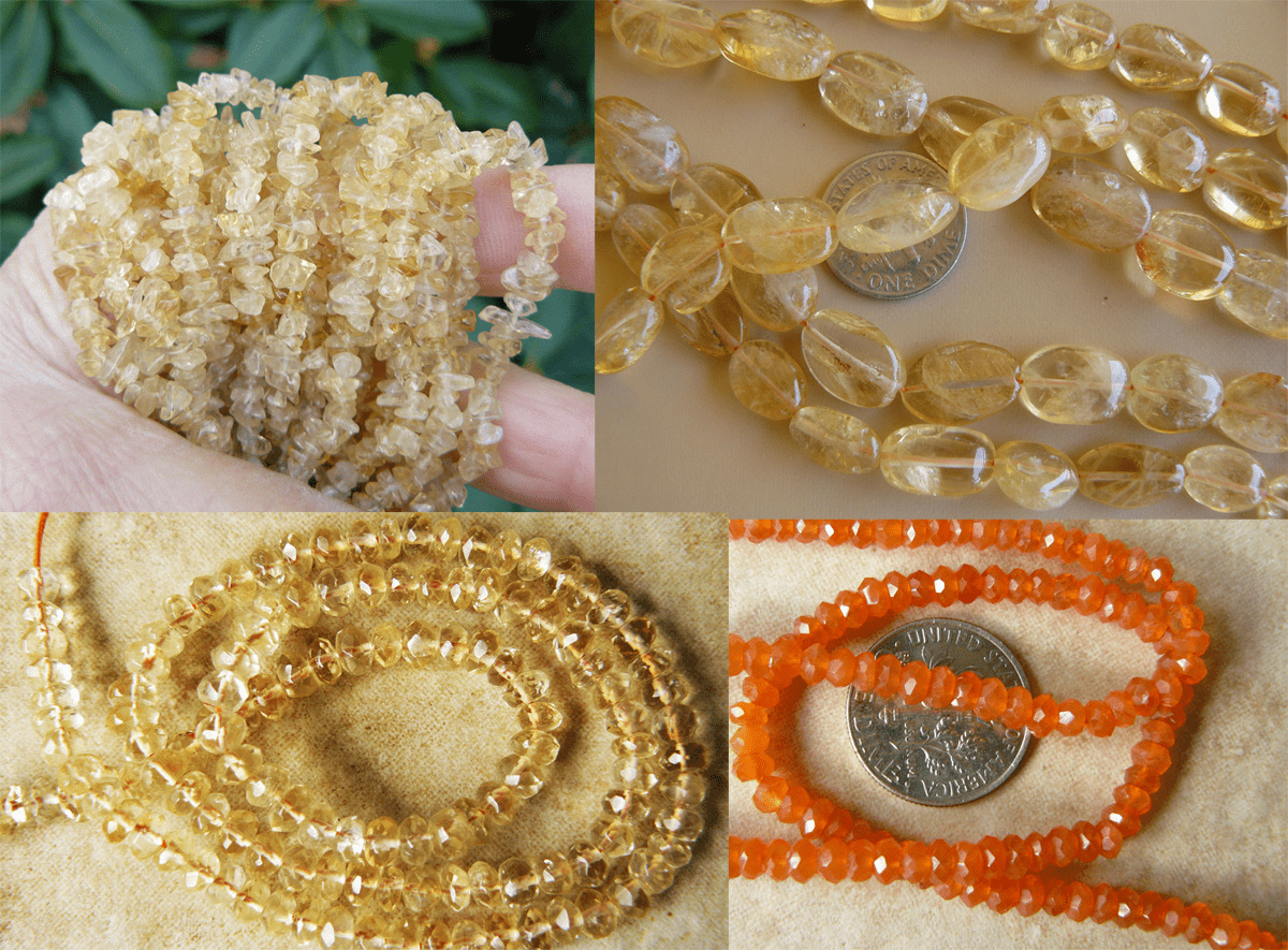 """Citrine Beads many different cuts and shapes 16"""" strands"""