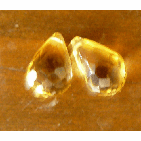 Citrine faceted Briolette beads set of 2 drops 5x10mm