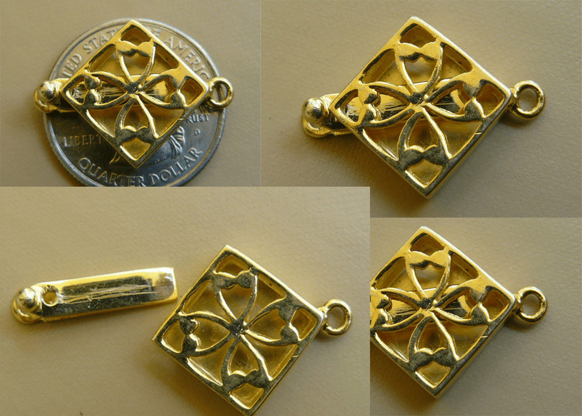 Clasp - 19x19mm - 1 Clasps - 22 KT. Gold Vermeil