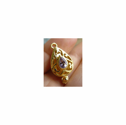 Clasp With Faceted Amethyst - 22 kt. Gold Vermeil<br>GCL-12A