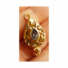 Clasp With Faceted Iolite - 22 kt. Gold Vermeil<br>GCL-12I