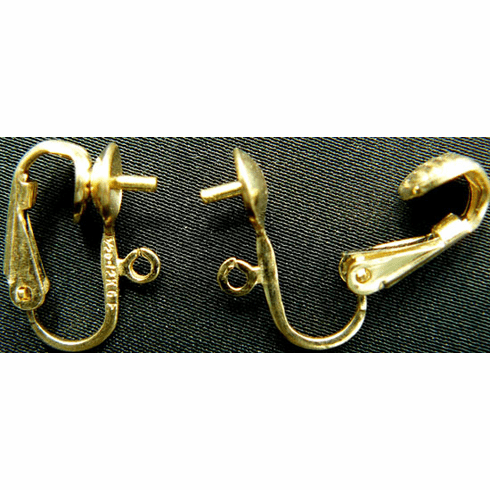 Clip on Earrings with Ring and Screw Post - One Pair - Gold Filled<br>GF-505501