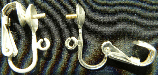 Clip on Earrings with Screw Post - 1 Pair - Sterling Silver<br>SS-EC405501