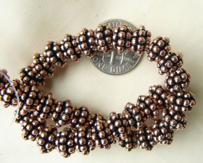 Copper triple daisy spacer beads 8 inch strands 39 beads 5 and 8 mm