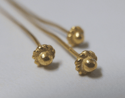 Coil Detail Head Pin - 4mm - 35 Pieces - 24Kt. Gold Over Copper