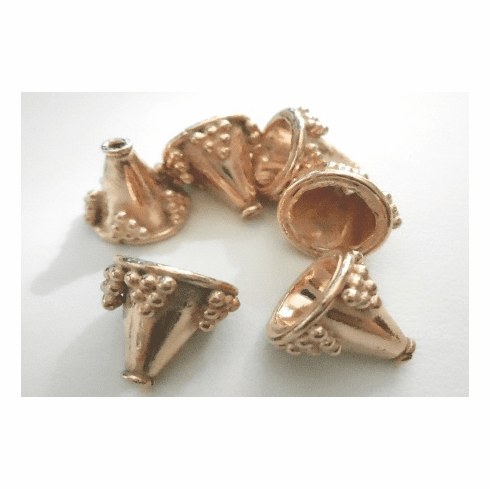 Cone - 10x12mm - 6 Pieces - Rose Gold Over Copper<br>SIC06