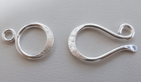 Contemporary Hook and Eye Clasp 12x20mm Hook w/ 12mm Eye 7 Clasps .999 Silver Over Copper SCBK1007