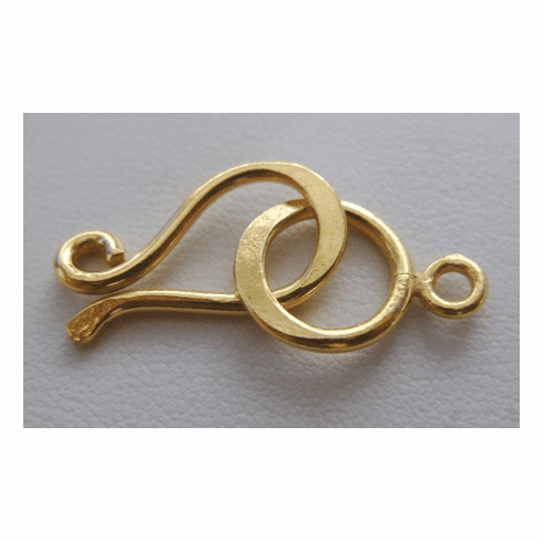 Contemporary Hook and Eye Clasp - 21mm Hook w/ 12mm Eye - 7 Sets - 24Kt. Gold Over Copper