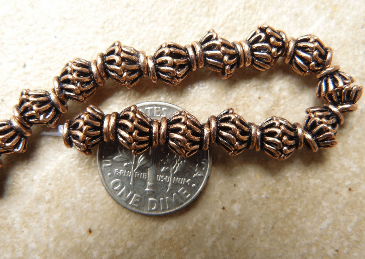 Copper Basket style bead caps 8MM over 50 caps