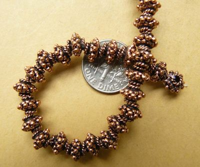 Copper Bead Cap fancy granular with twisted coils 6x7mm 36 beads