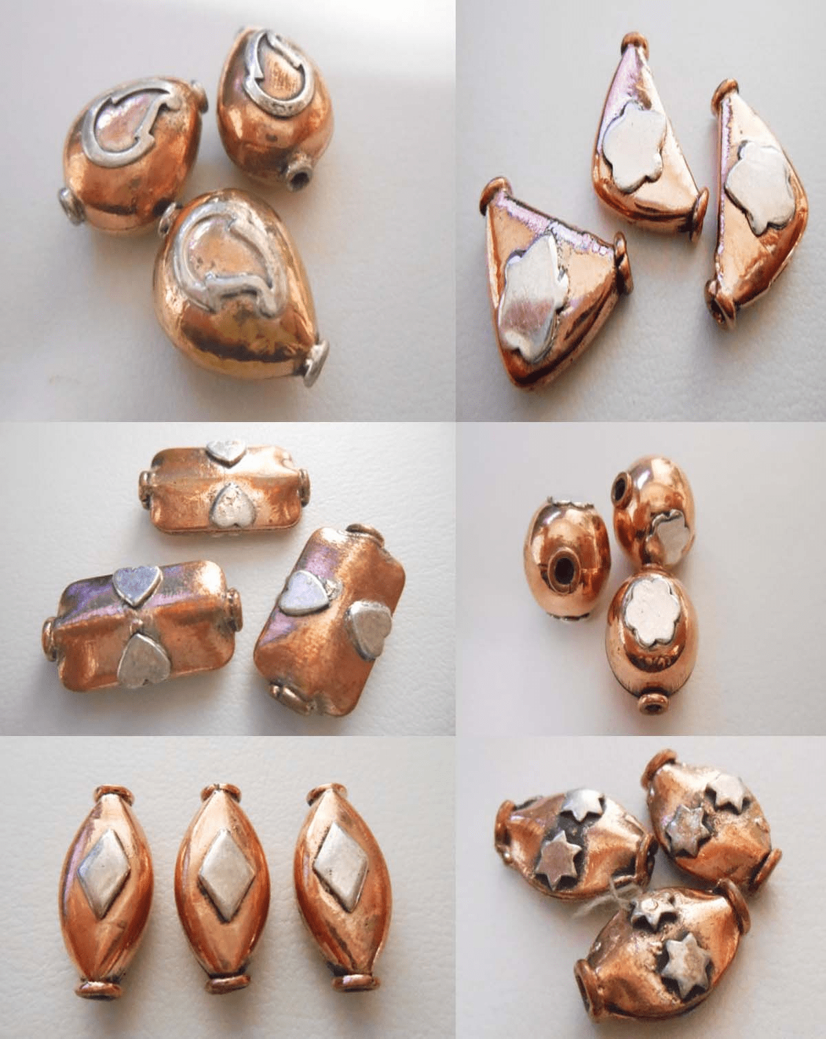 Copper beads with Silver accents