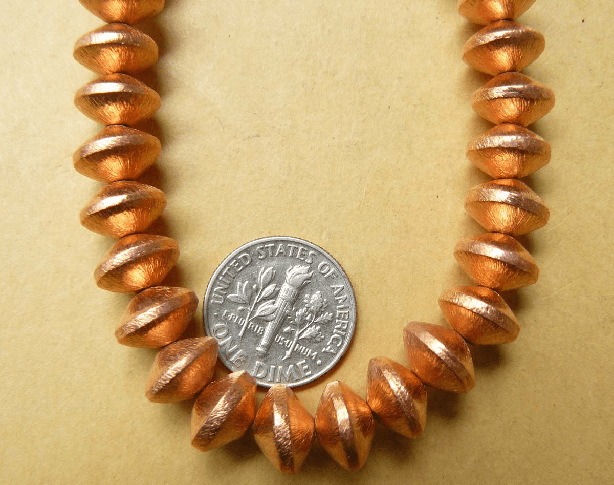 Copper Brushed Saucer Bead 7x10mm over 30 Beads