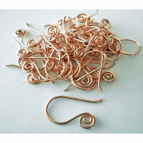 Copper Ear Wire with Spiral 12x22mm 18 Pair  CO311