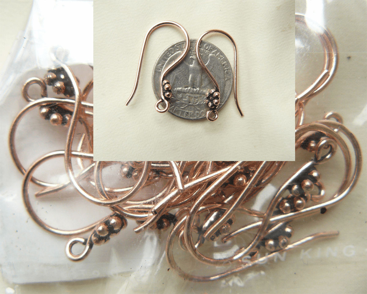 Copper Ear wires with daisy design 10 pair