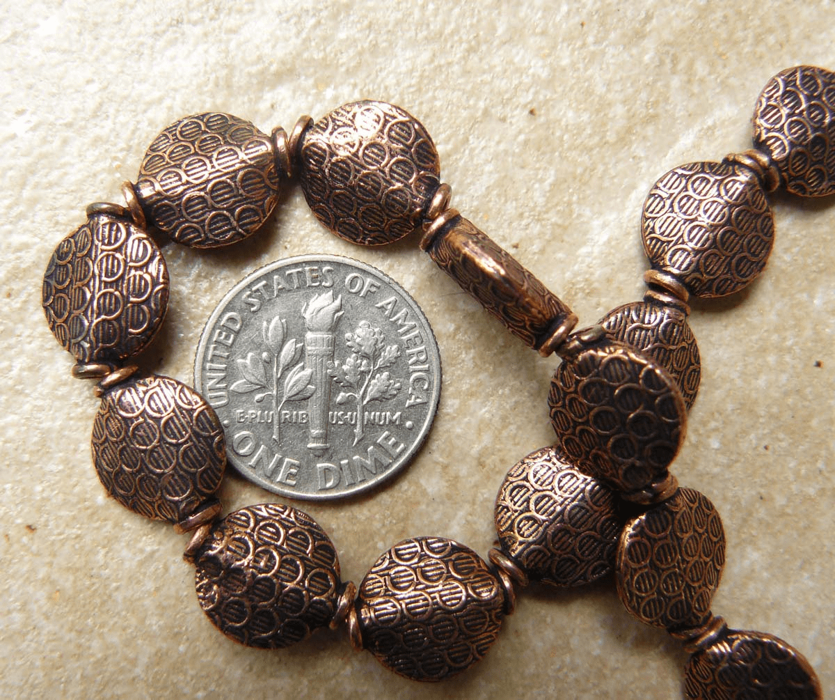 Copper Flat Round Bead 10mm 17 Beads 8 in. strand