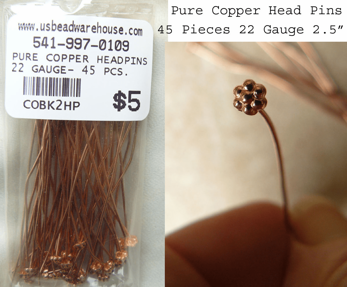Copper Head pin with Fancy Flower Design 45 pieces