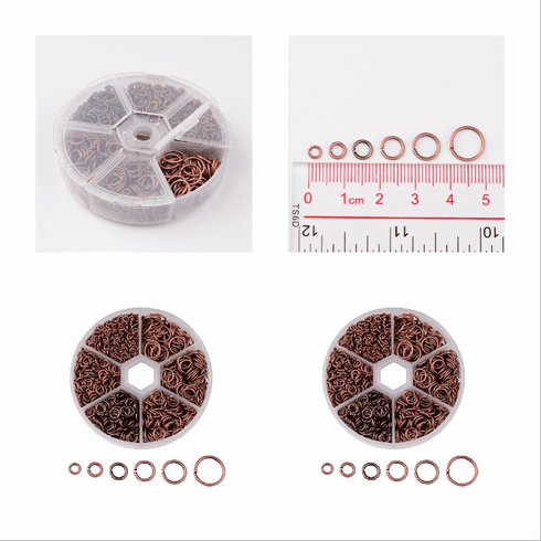 Copper Jump ring Assortment with round tub organizer