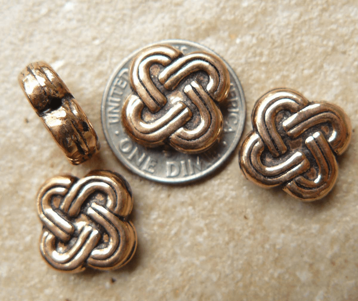 Copper Knot beads Hollow 10 beads 12mm square