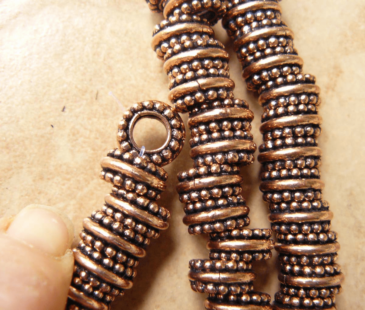 Copper large hole bead 12x6mm with 5.85mm hole 35 beads