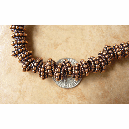 Copper larger hole bead 5x9mm 4mm hole 45 beads
