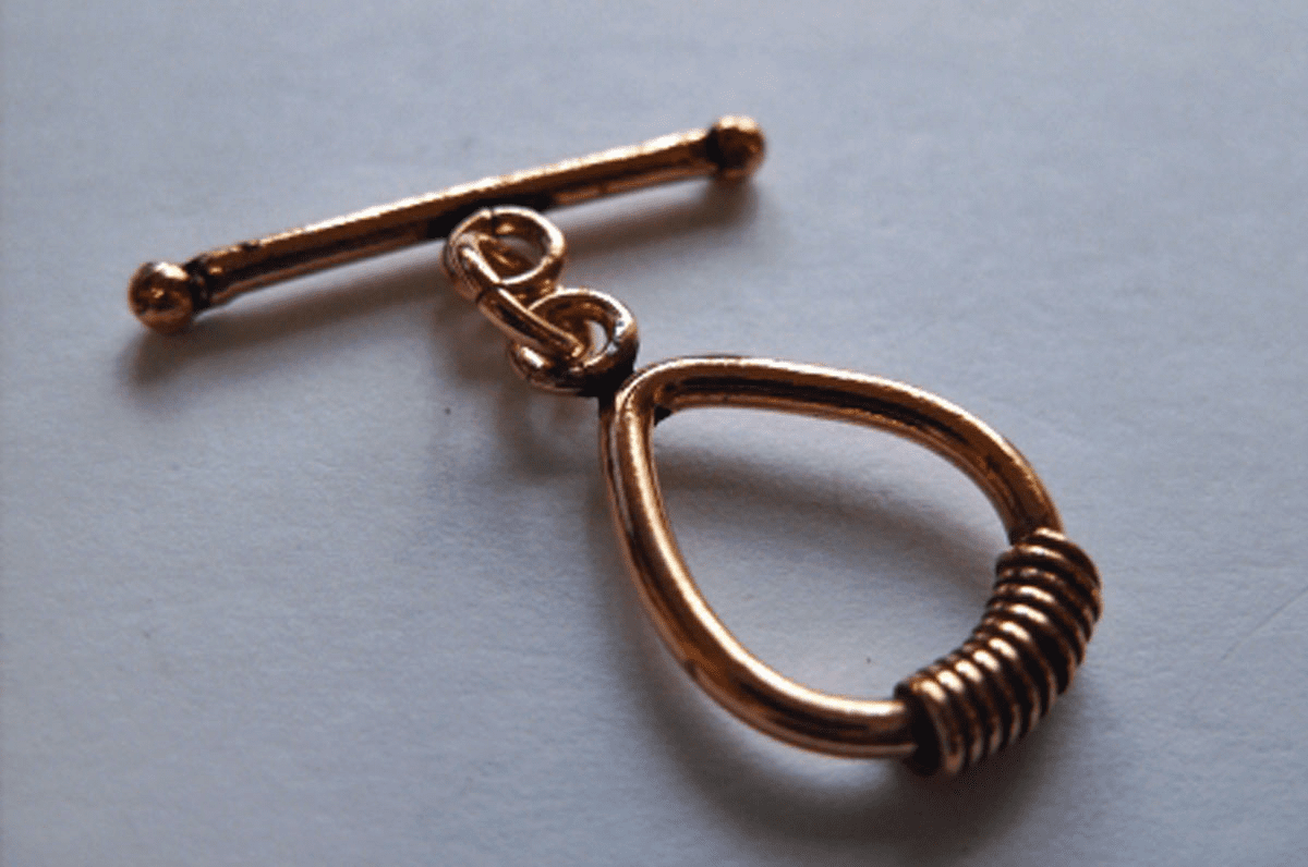 Copper Teardrop Toggle 15x22mm with 28mm Bar 1 Clasp  C-T9