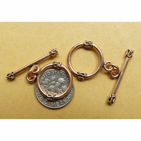 Copper Toggle 16mm with 25mm Bar 6 Clasps  CO5027