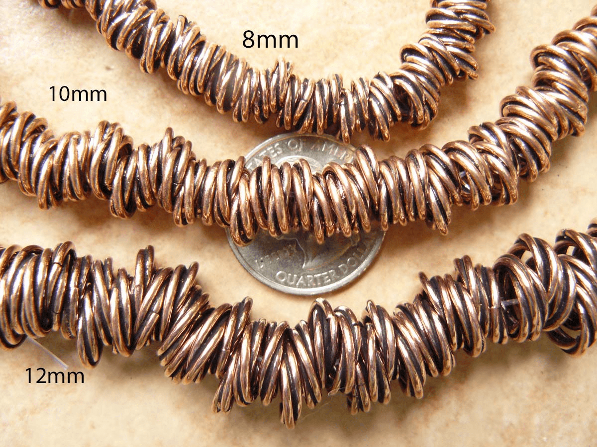 Copper twisted beads 10mm 26 pcs.